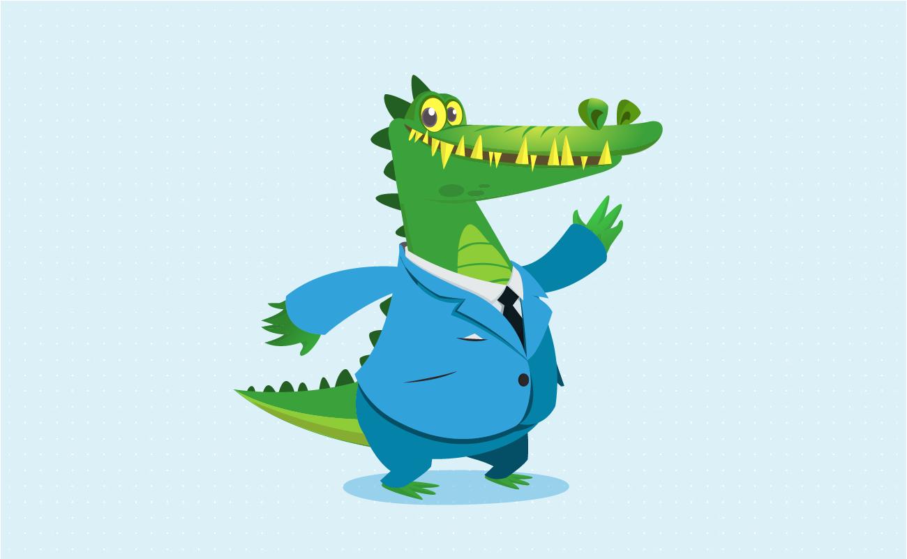 Alligator in a suit