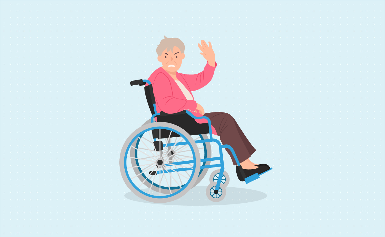 Angry injured old lady