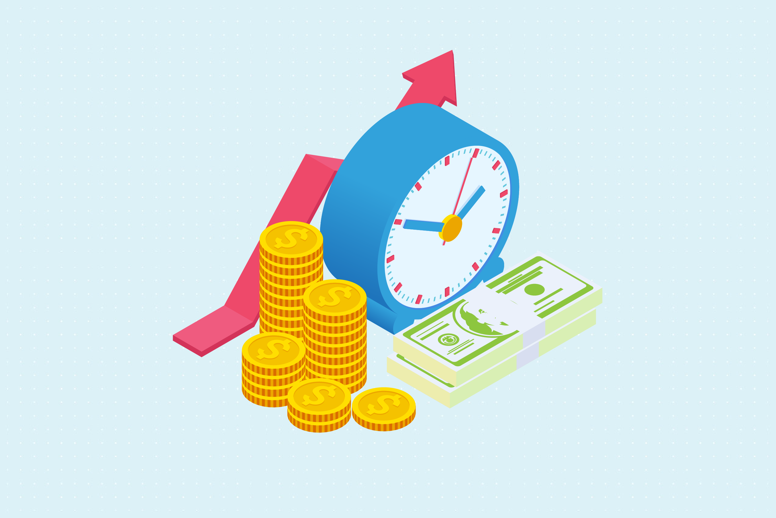 Annuity images. Money clock and arrow.