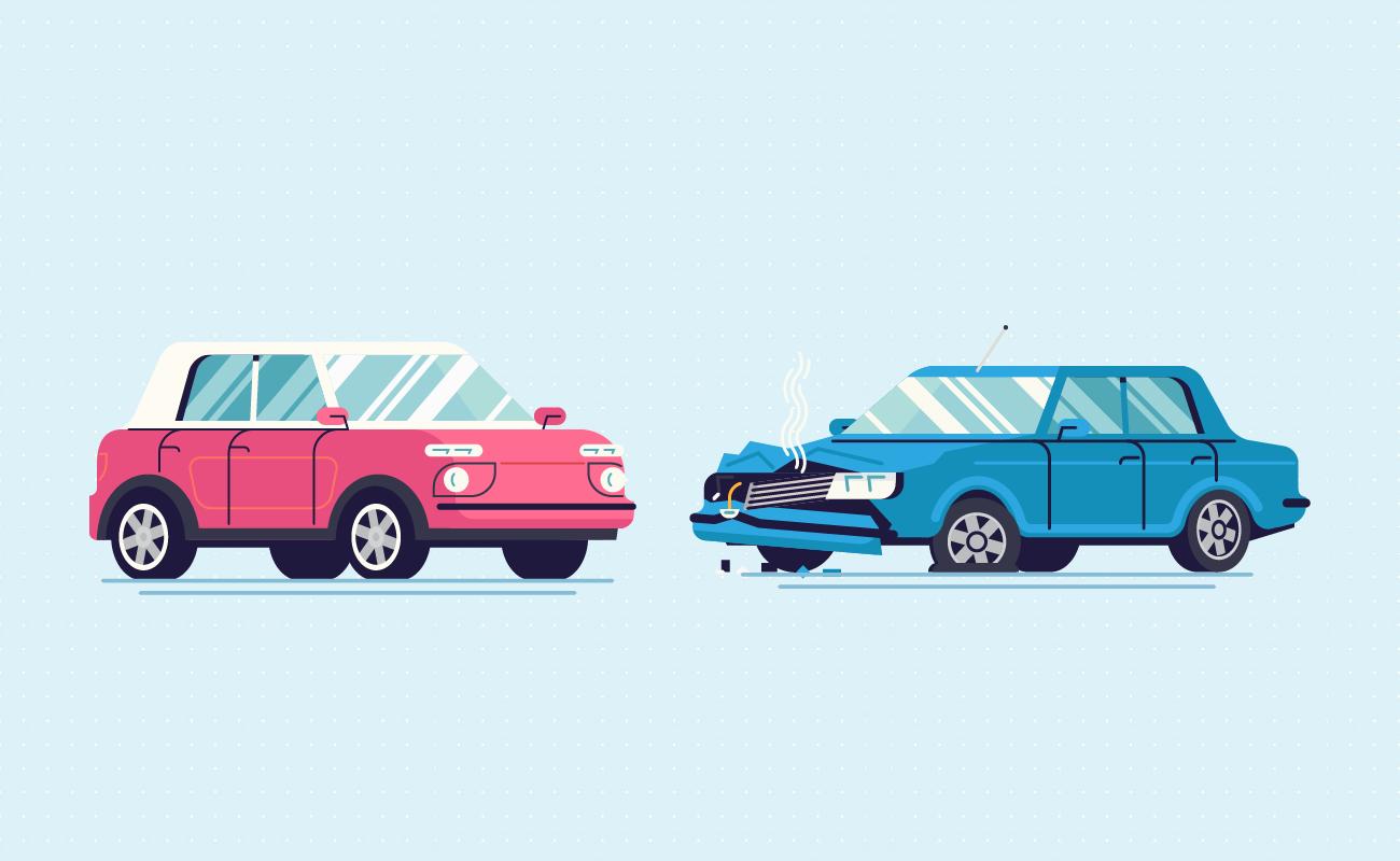 Brand new versus a broken car.
