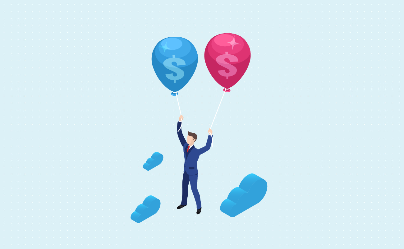Businessman holding two balloons