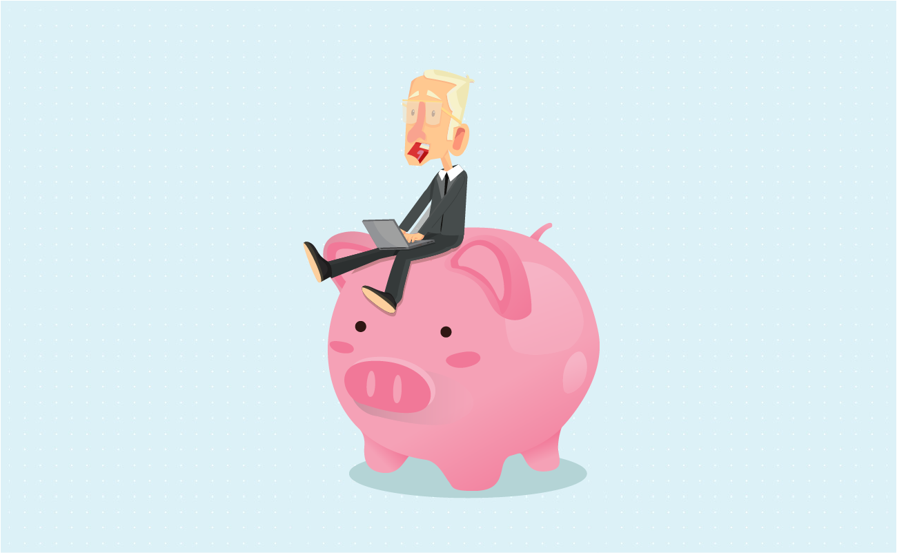 Businessman sitting on a piggy bank