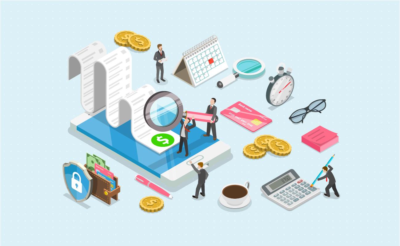 Businessmen doing financial calculation