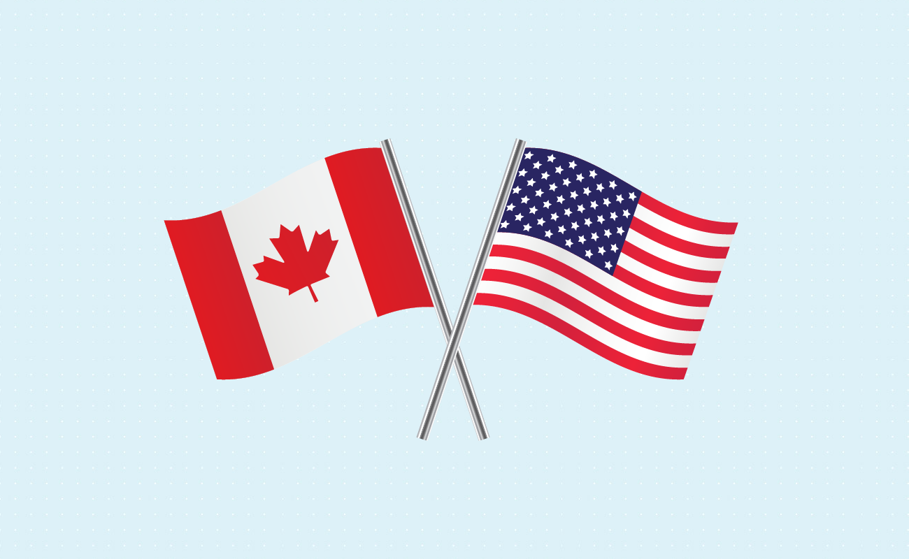 Canadian and American flag