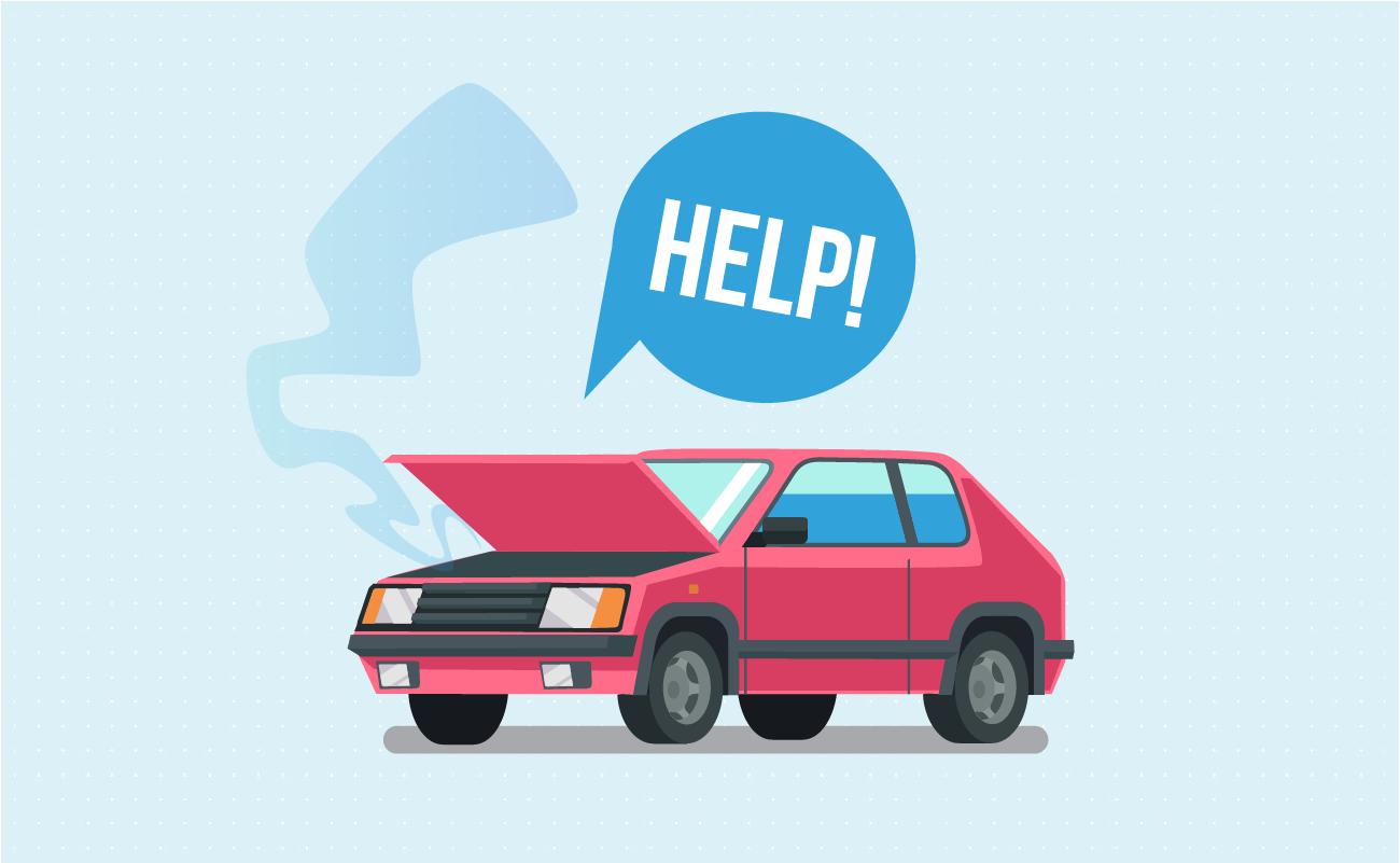 Car broke down asking for help.