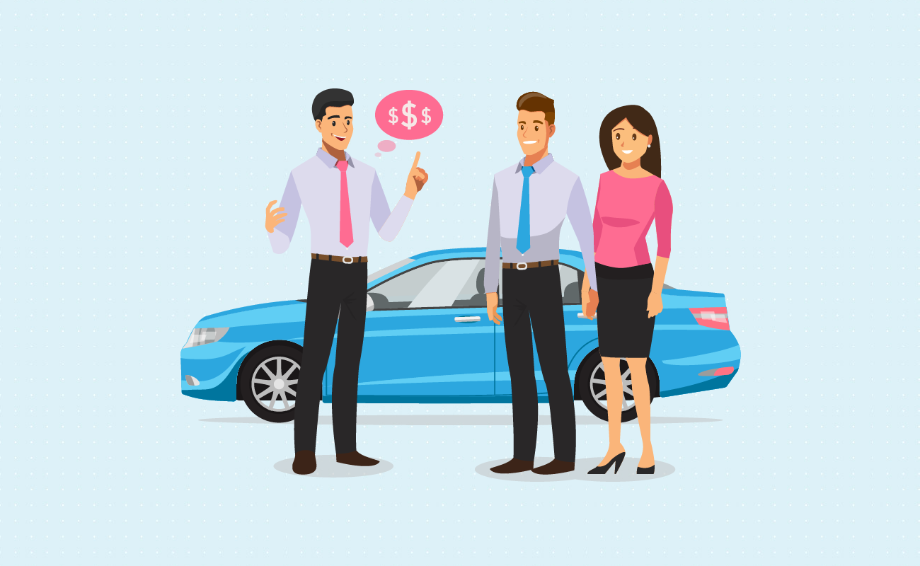 Car salesman talking about savings.
