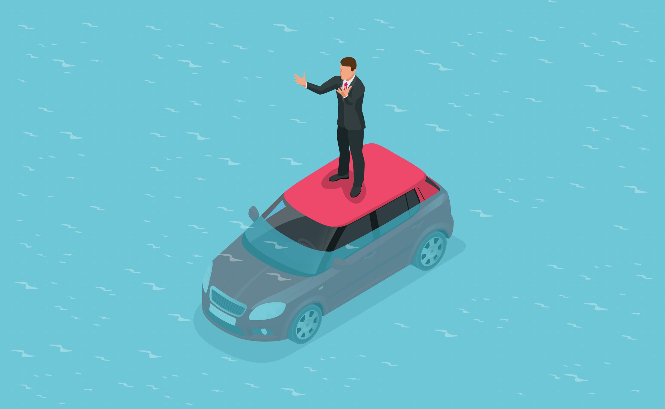 Car sinking underwater