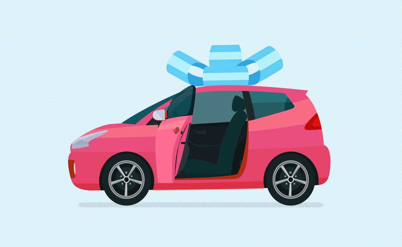 Car with a bow.