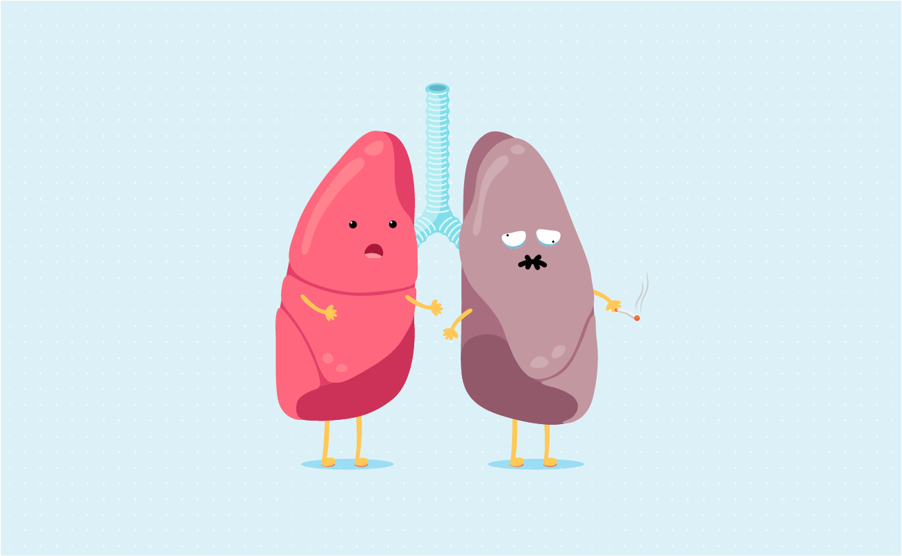 Cartoon of a healthy lung with smoker lung