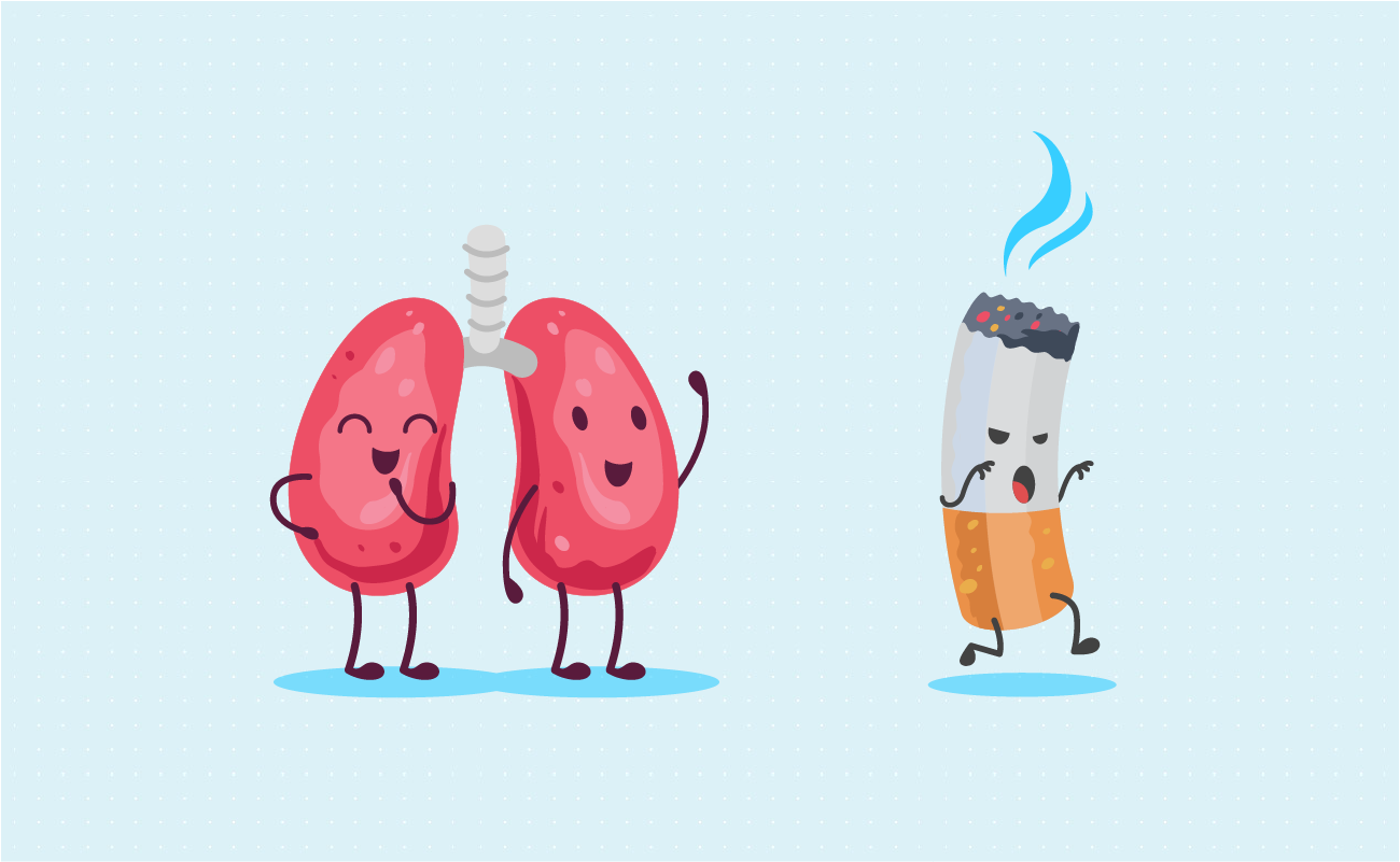 Cartoon of a lung saying goodbye to cigarettes