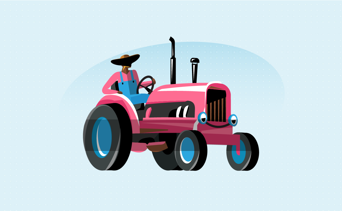 Illustration of a Country Man Driving a Tractor.