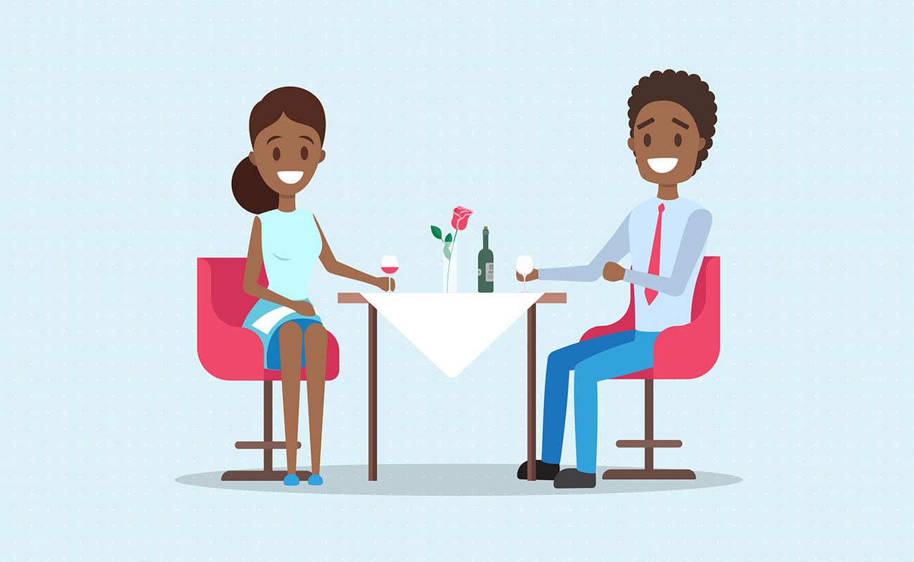 Couple dating on a restaurant