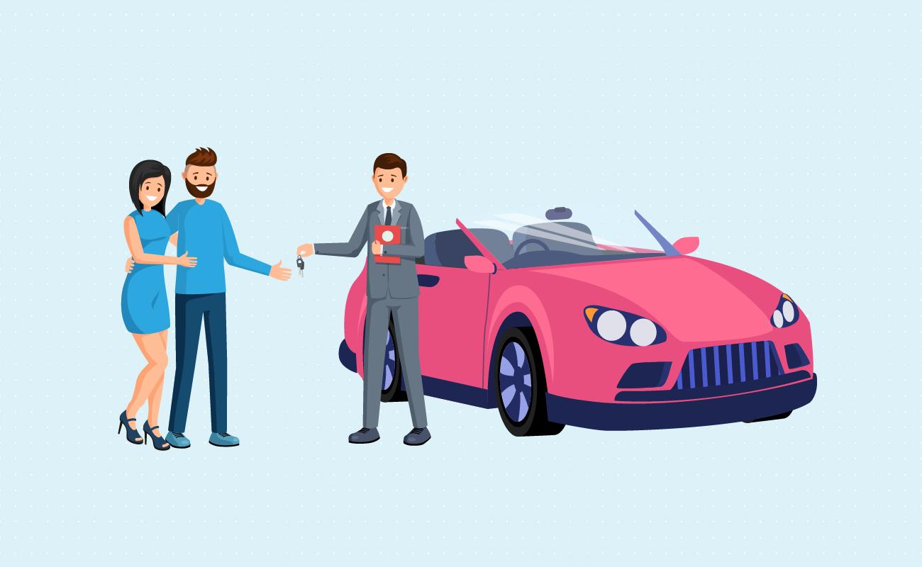 Dealer shows car keys.