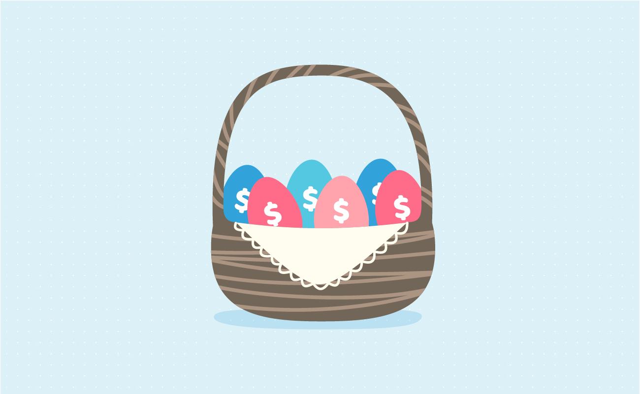 Egg basket with dollar symbol