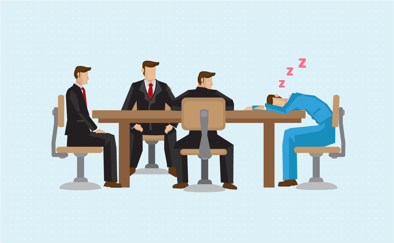 Employee sleeping in a meeting