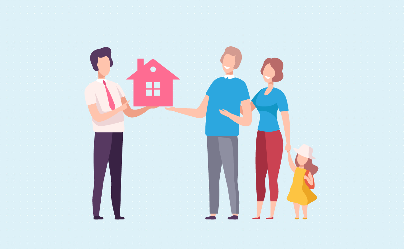 Family buying a house from agent.