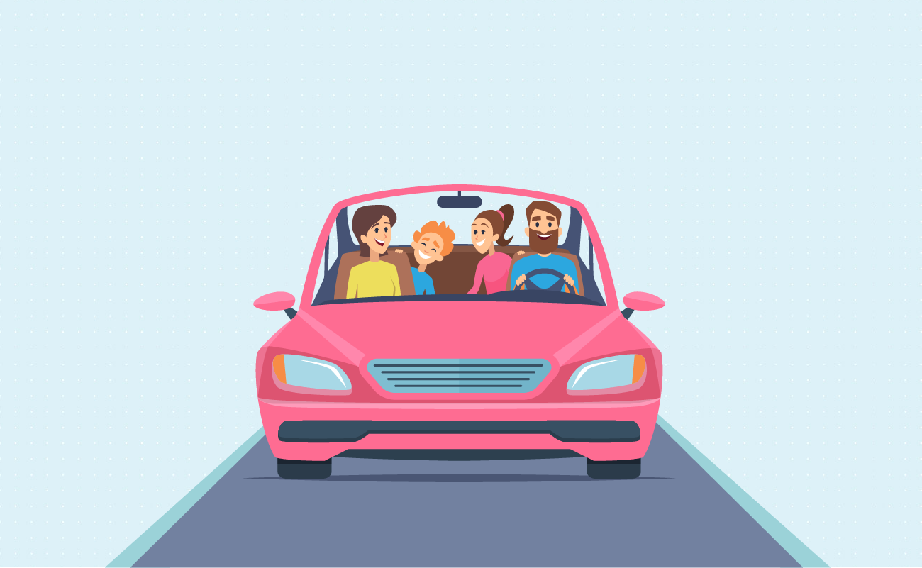 Family driving on a highway.