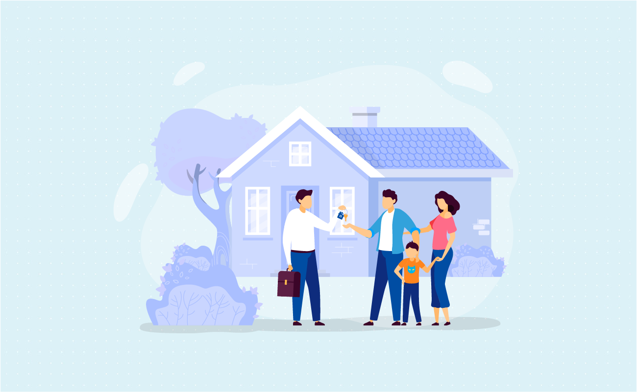 Family talking to a real estate agent.