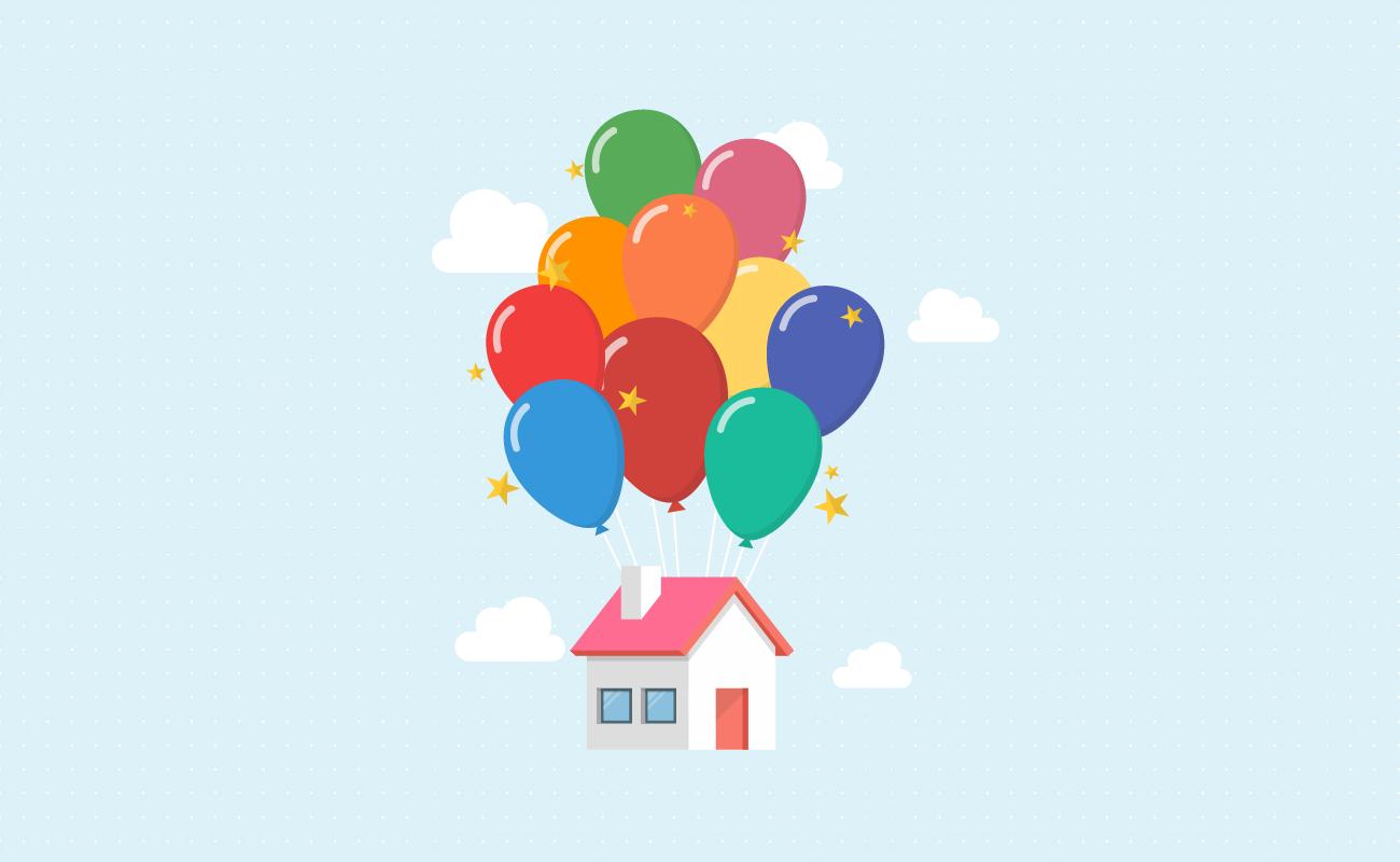 Floating balloon house.