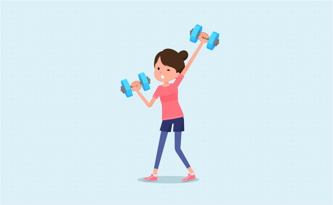 Girl exercising carrying weights.