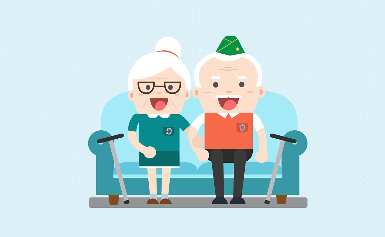 Retired and happy veteran couple