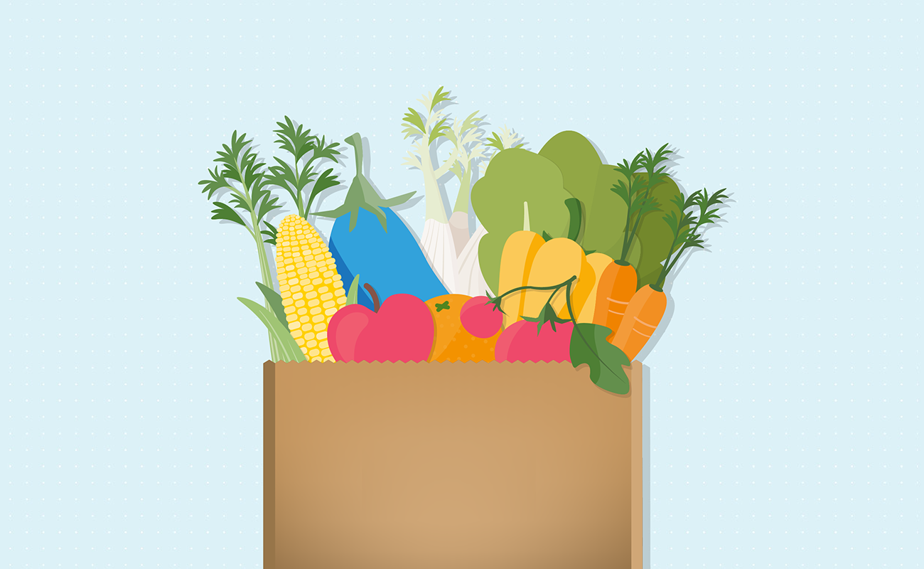 Groceries packed with healthy food