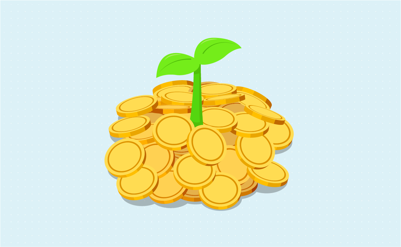 Growing plant on coin