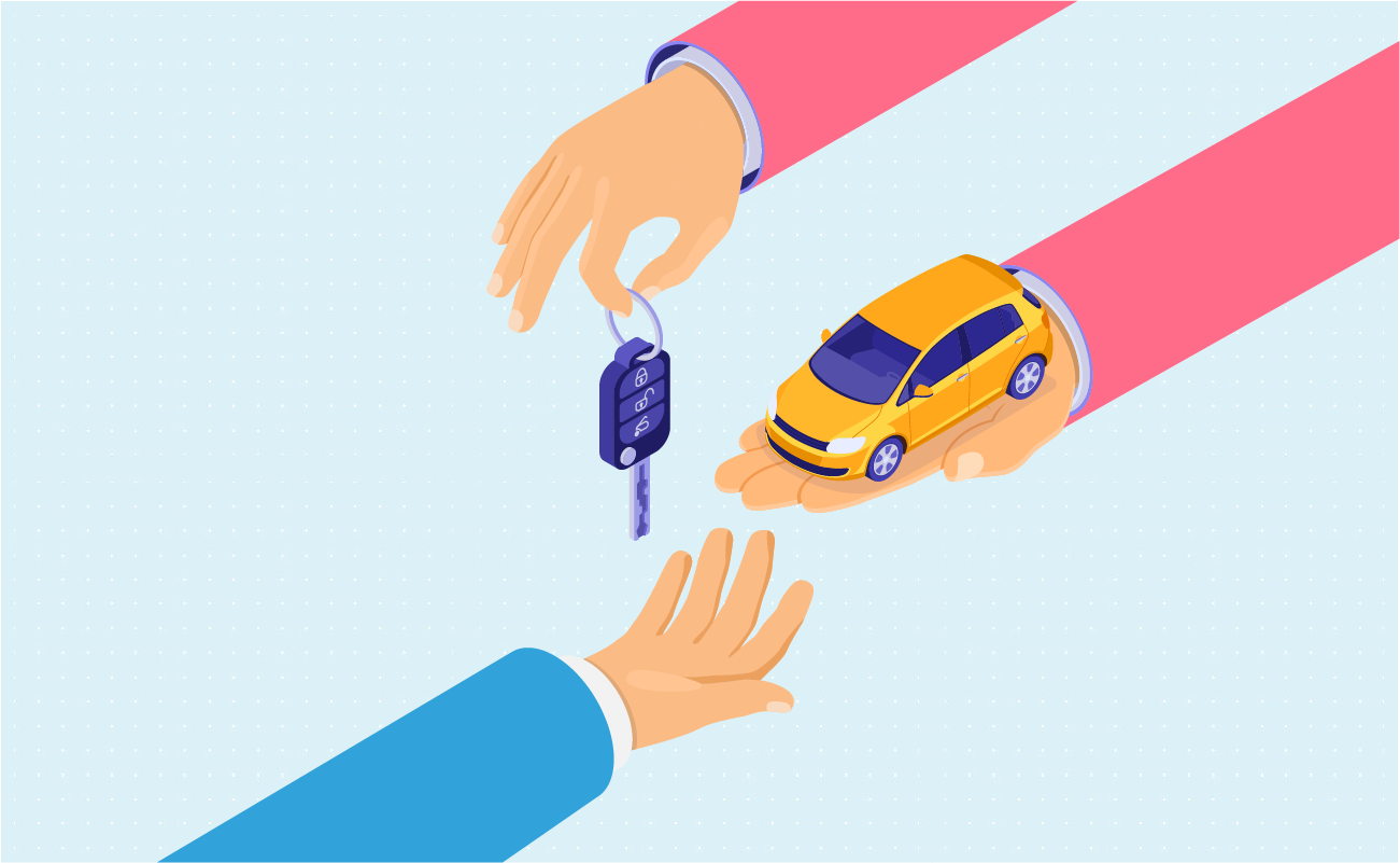 Hand giving car and car keys