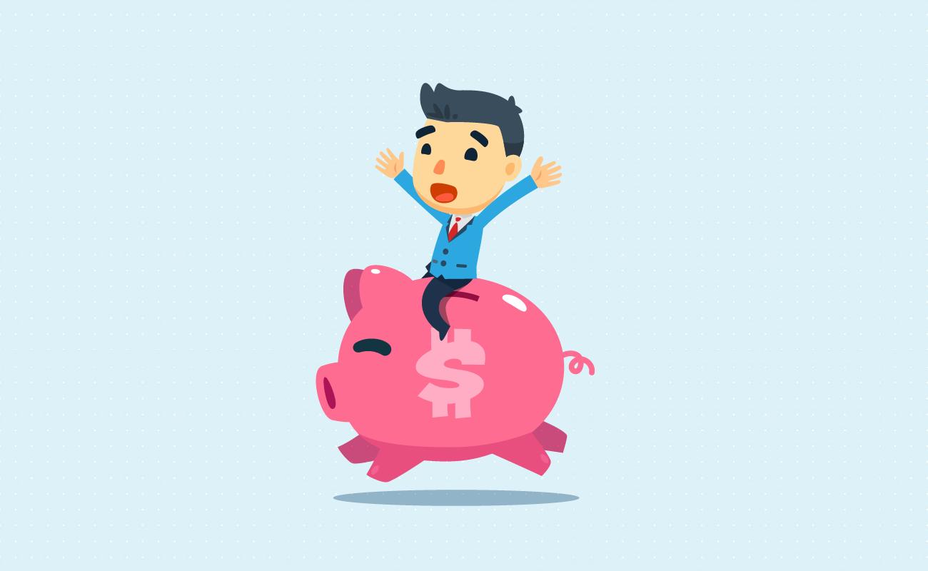 Happy man on a running piggy bank.