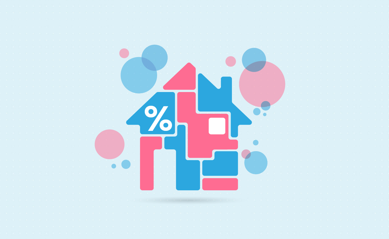 House puzzle piece with percent sign.