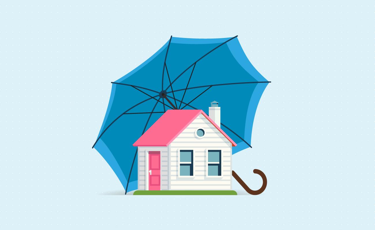 Houses under an umbrella.