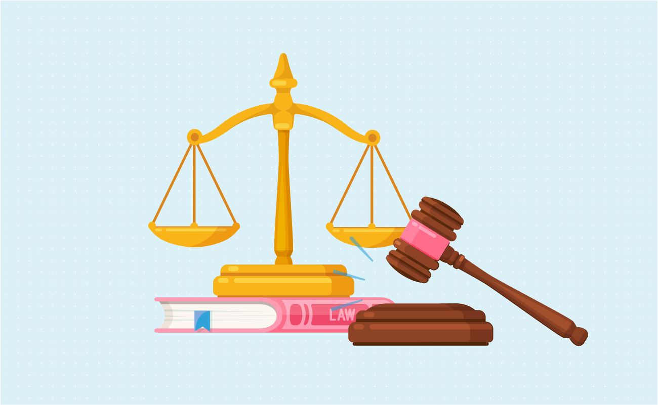 Justice scale, gavel and law book