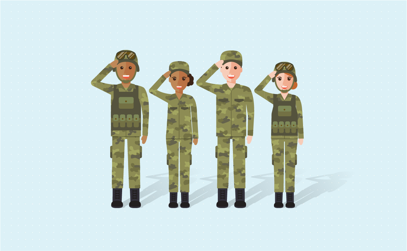 Line of soldiers saluting.