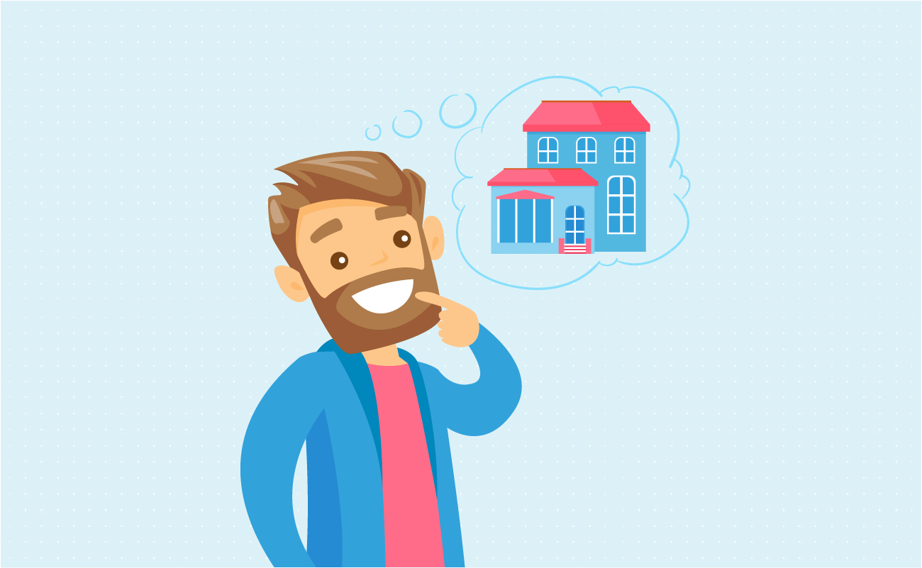 Man dreaming of owning beautiful house.