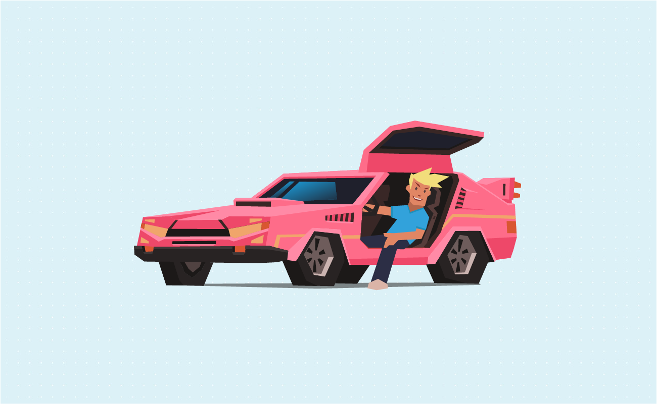 Man in a cool pink car.