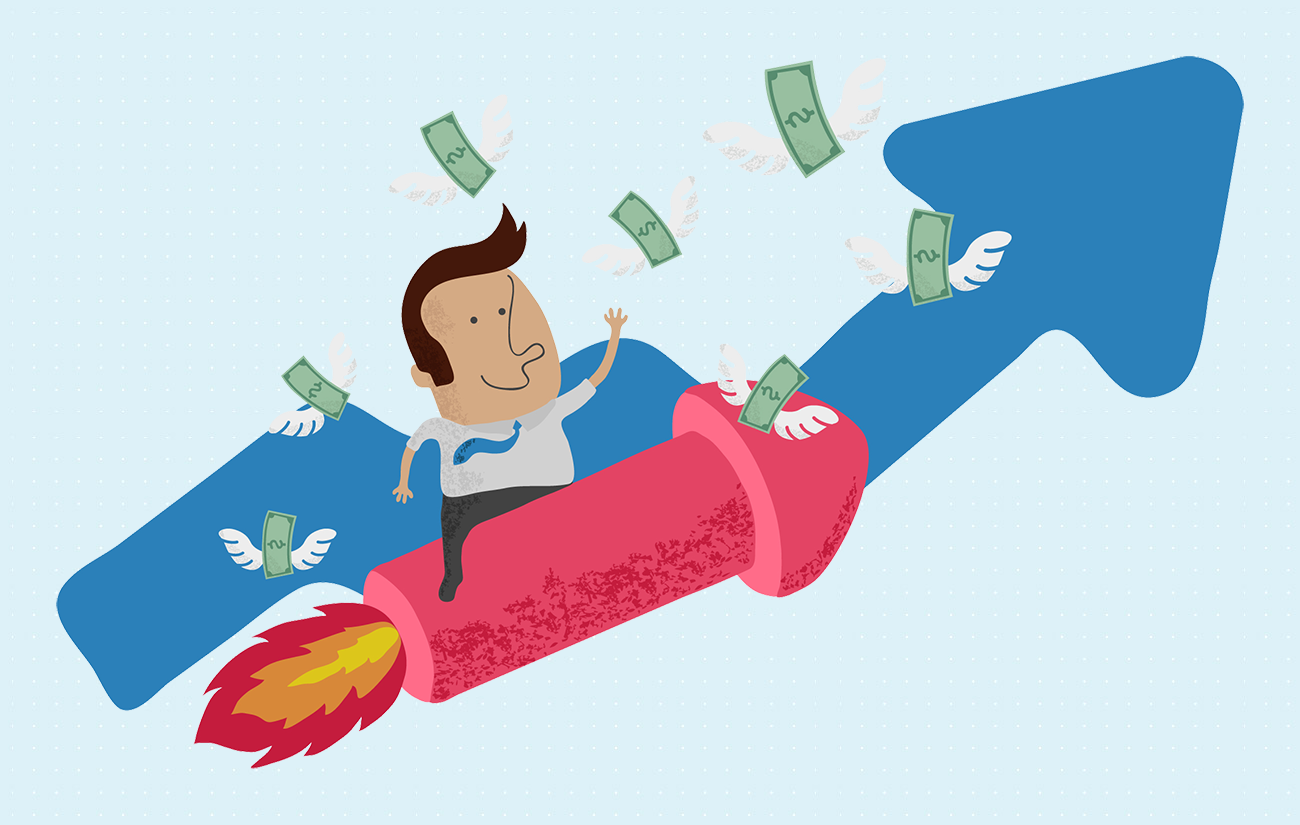 Man Riding a Money Rocket.