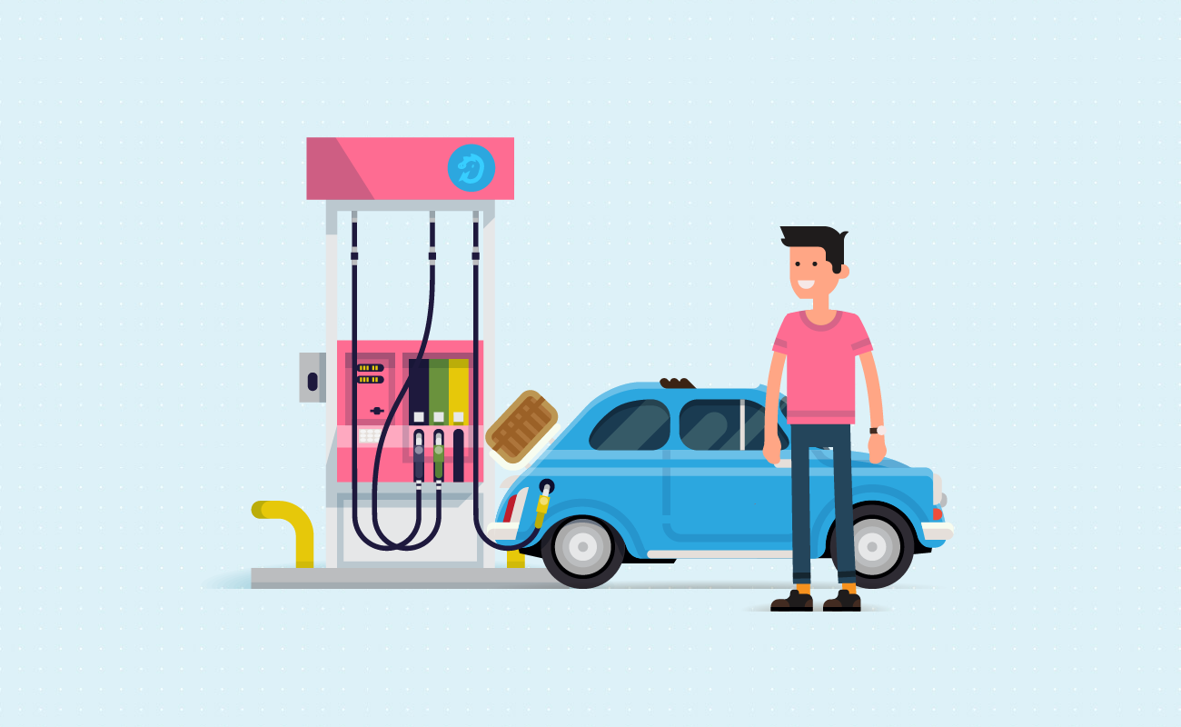 Refilling car at gas station.