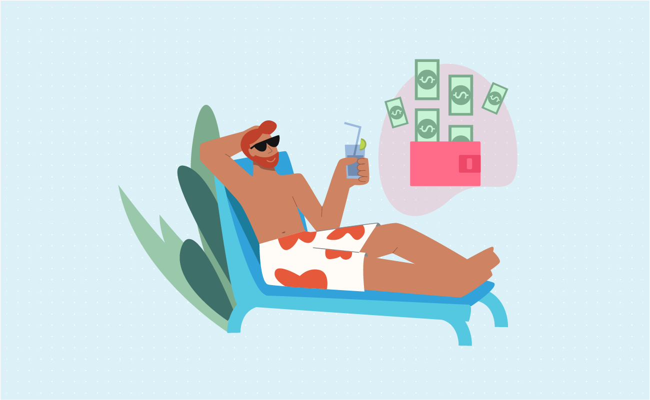 Man relaxing thinking about money