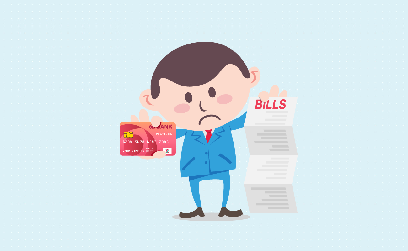 Man surprise by his bills.