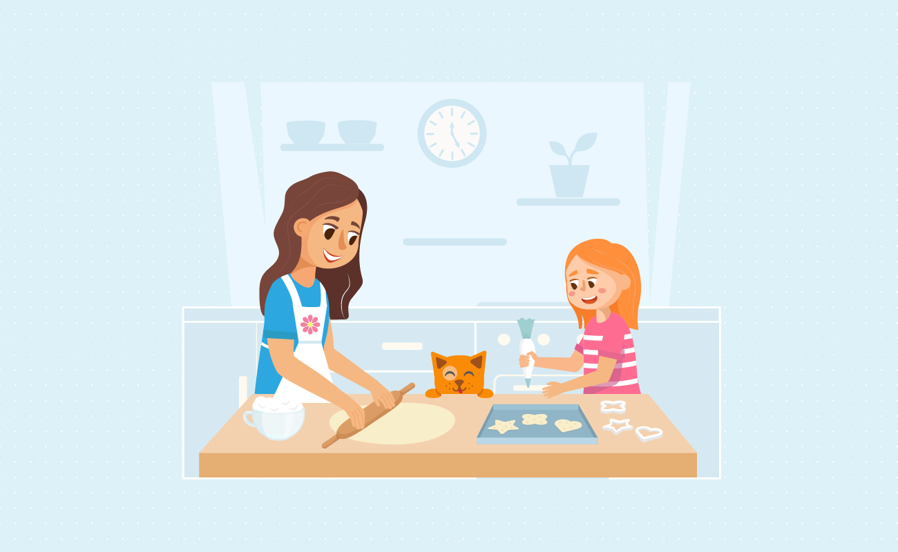 Mom teaching daughter to bake.