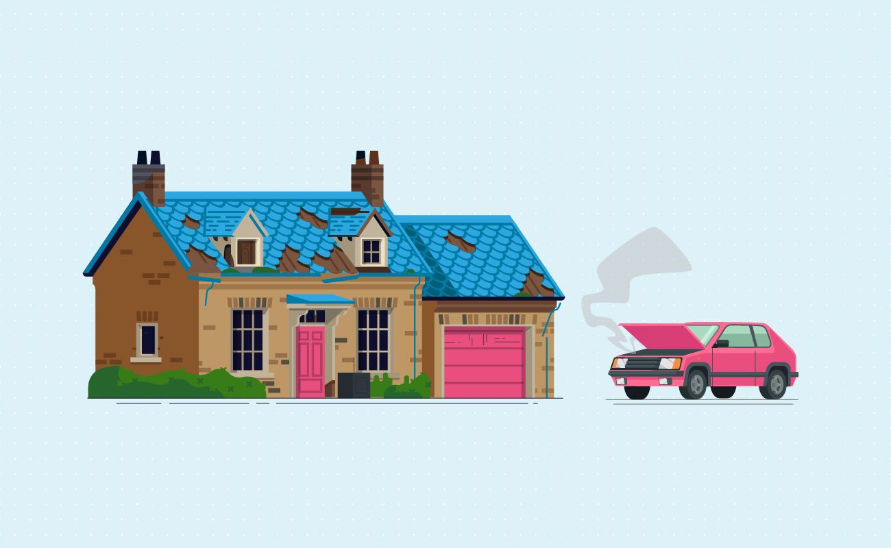 Old house and a broken car.