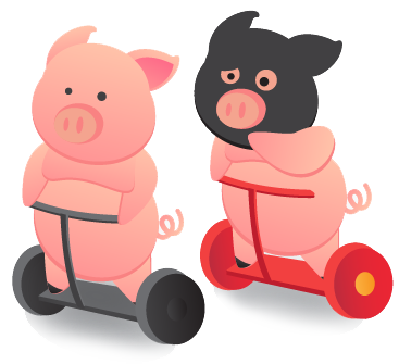Pigs on a segway