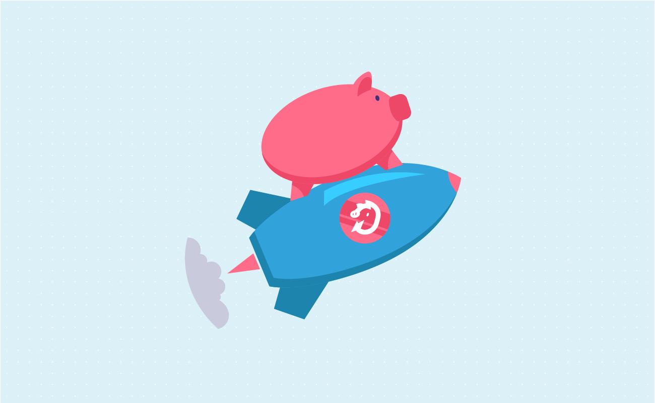 Pig on rocket flying high.