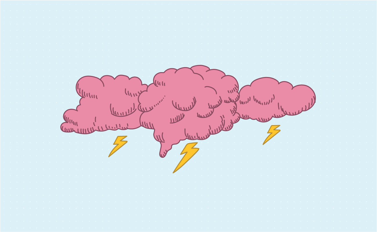 Pink clouds with thunderbolts