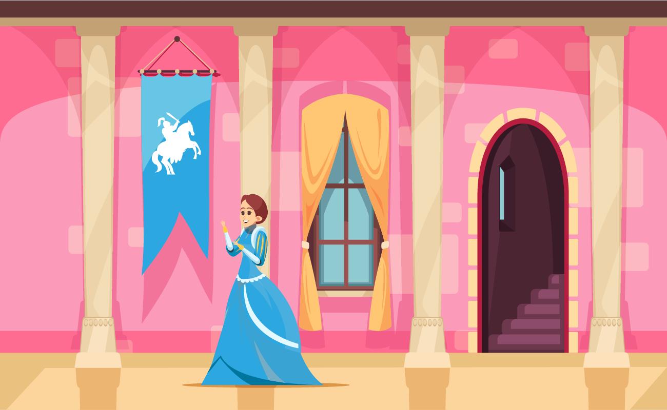 Princess in a castle.