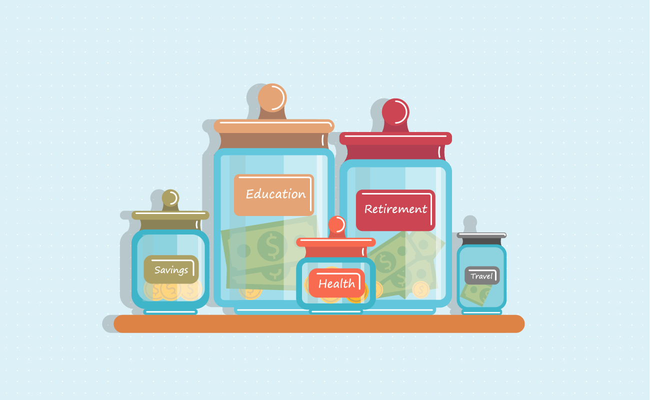 Saving jars for future expenses