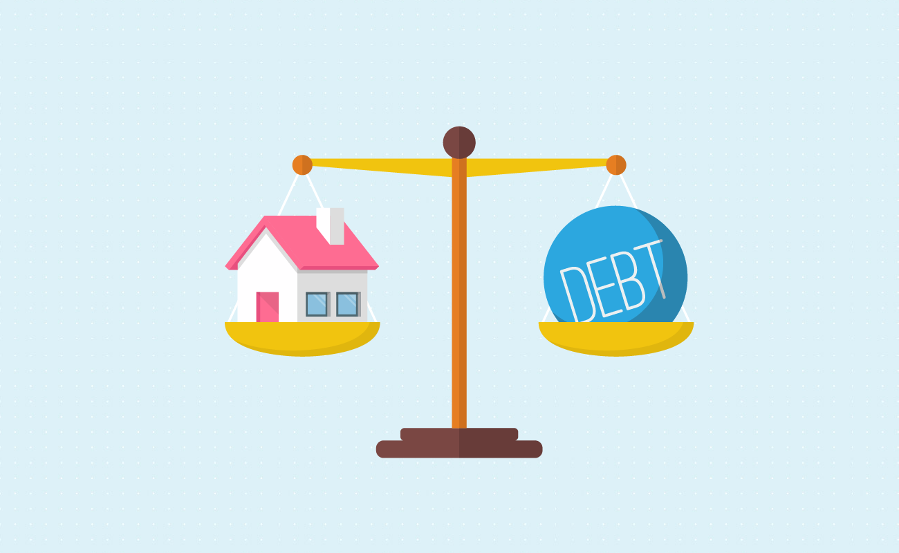 Scale between a house and debt.