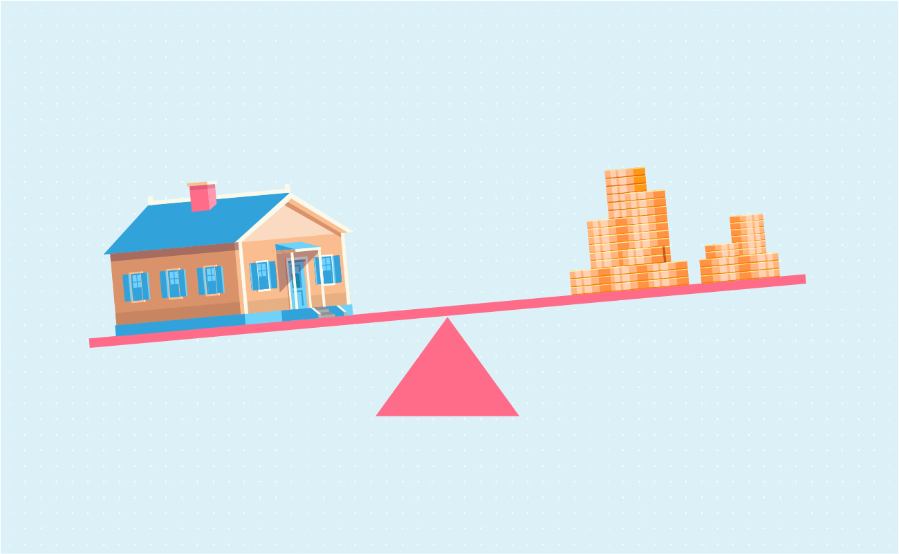 scale balancing money and house