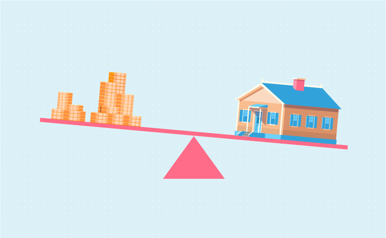 Seesaw with money and house