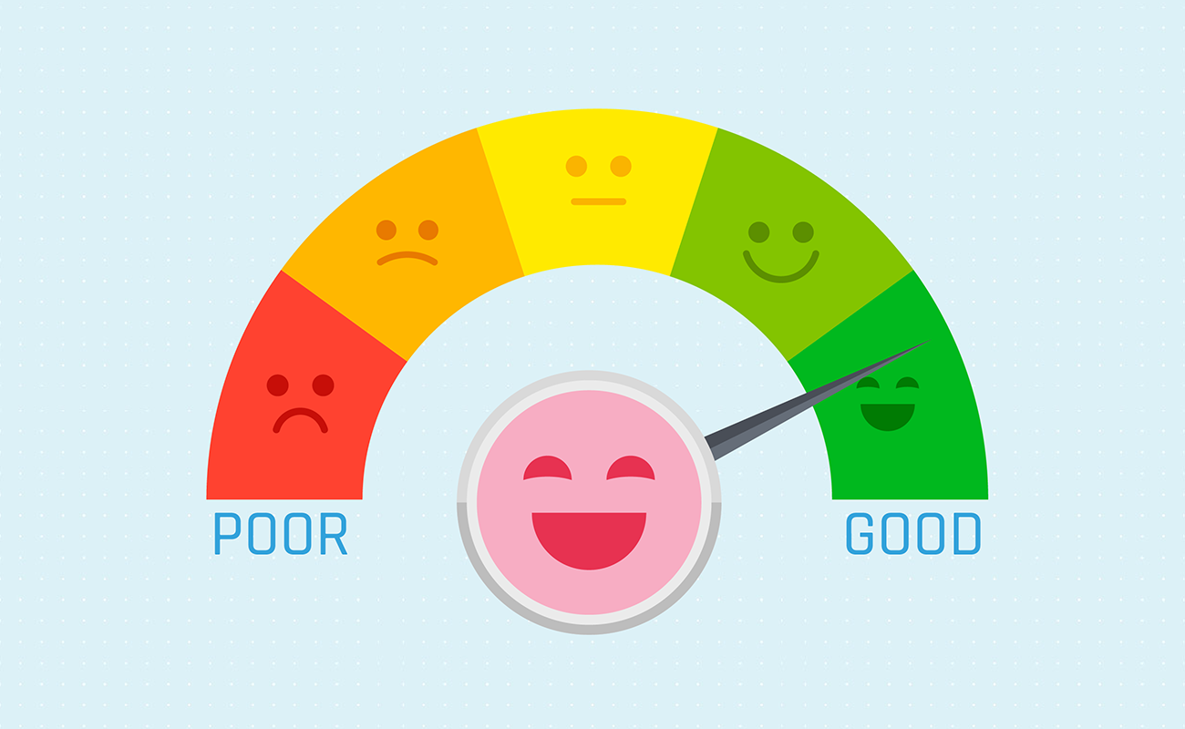 Smiley face with high credit score.